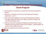 fy 2013 proposed downtown revitalization grant program