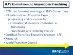 ifa s commitment to international franchising