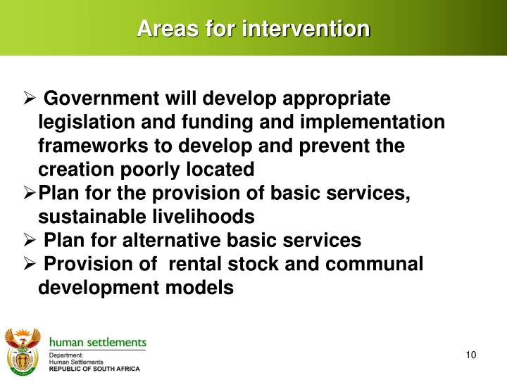 Areas for intervention