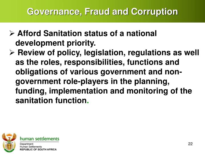 Governance, Fraud and Corruption