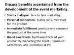 discuss benefits ascertained from the development of the event marketing