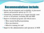 recommendations include
