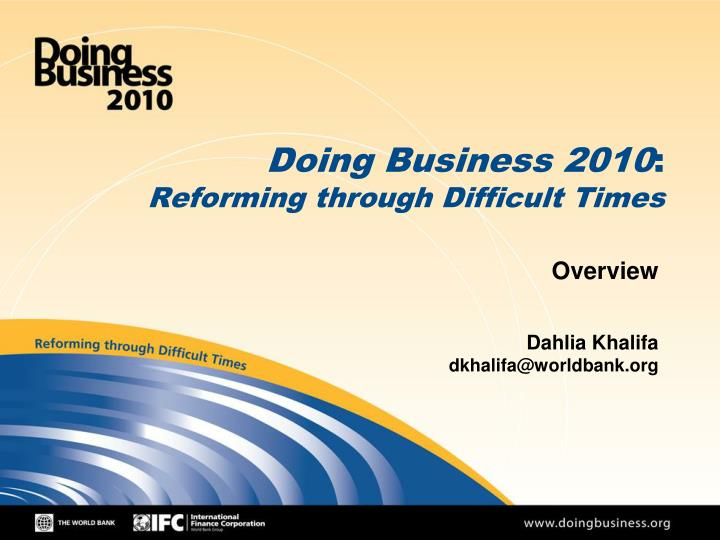 doing business 2010 reforming through difficult times n.