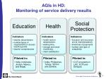agis in hd monitoring of service delivery results