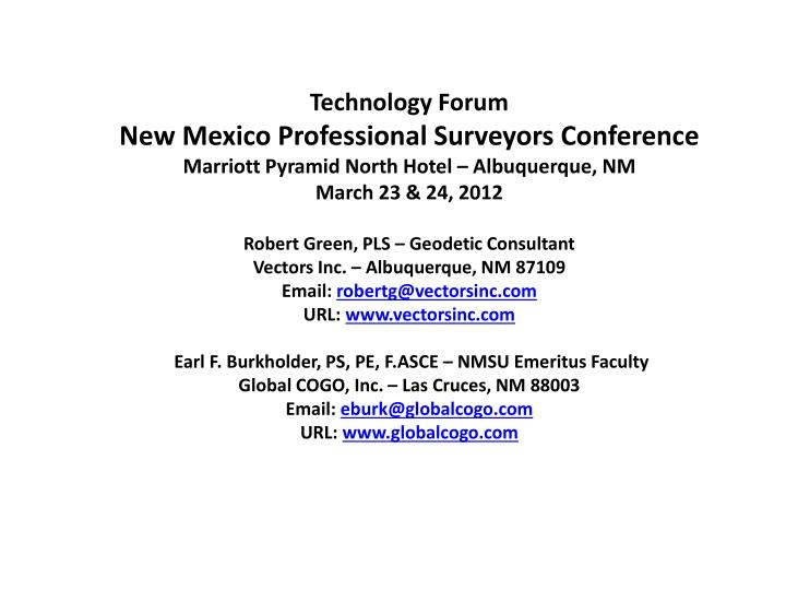 PPT - Technology Forum – NMPS Conference – Marriott Pyramid