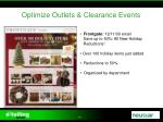 optimize outlets clearance events