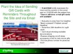 plant the idea of sending gift cards with reminders throughout the site and via email