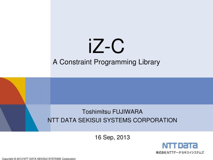iz c a constraint programming library n.