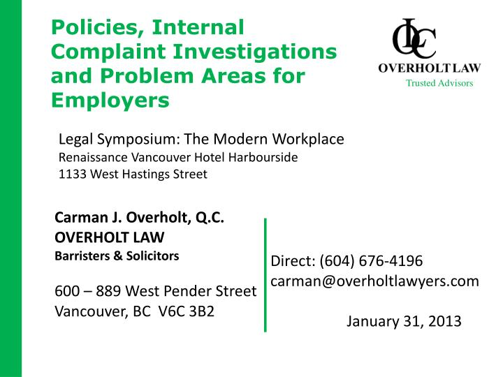 policies internal complaint investigations and problem areas for employers n.