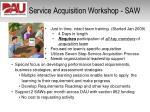 service acquisition workshop saw