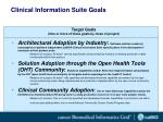 clinical information suite goals