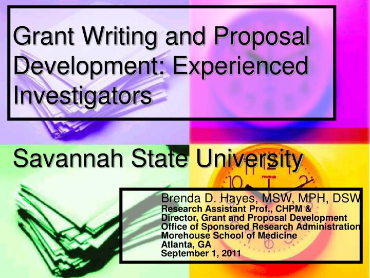 grant writing and proposal development experienced investigators savannah state university n.