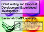 grant writing and proposal development experienced investigators savannah state university