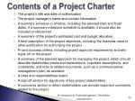 contents of a project charter