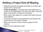 holding a project kick off meeting