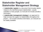 stakeholder register and stakeholder management strategy