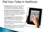 ipad uses today in healthcare