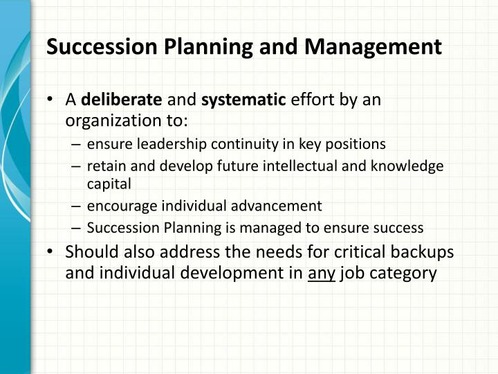 Succession Planning and Management