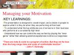 managing your motivation