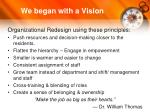we began with a vision
