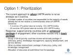 option 1 prioritization