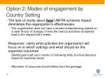 option 2 modes of engagement by country setting