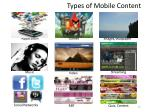 types of mobile content