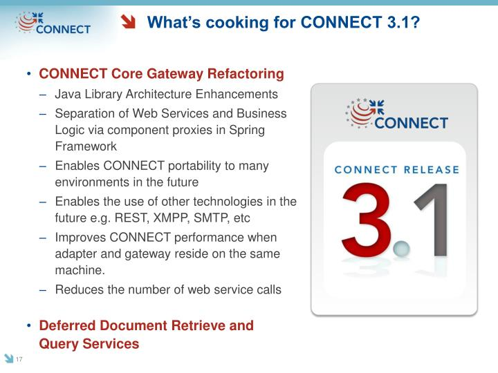 What's cooking for CONNECT 3.1?
