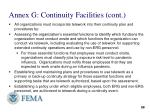 annex g continuity facilities cont