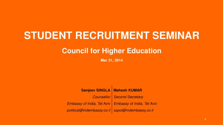 student recruitment seminar council for higher education mar 31 2014 n.