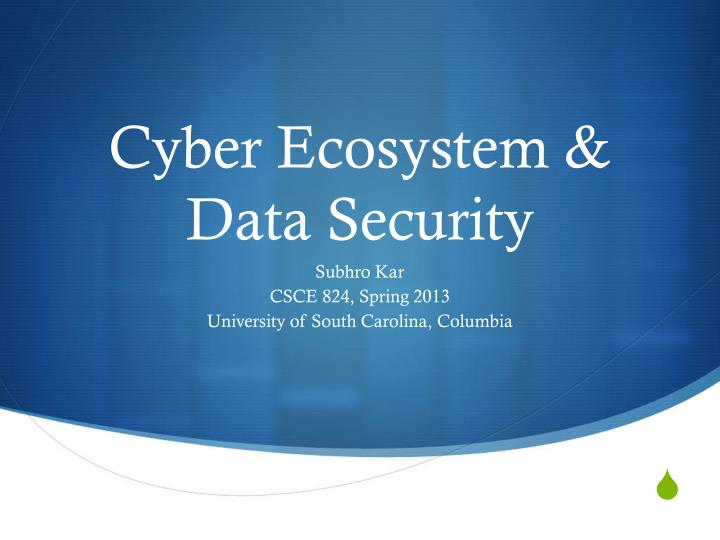 cyber ecosystem data security n.