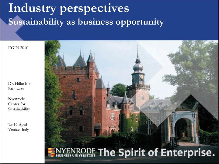 industry perspectives sustainability as business opportunity n.