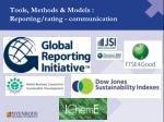 tools methods models reporting rating communication