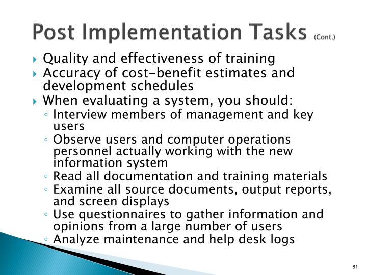 Post Implementation Tasks