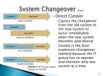 system changeover cont