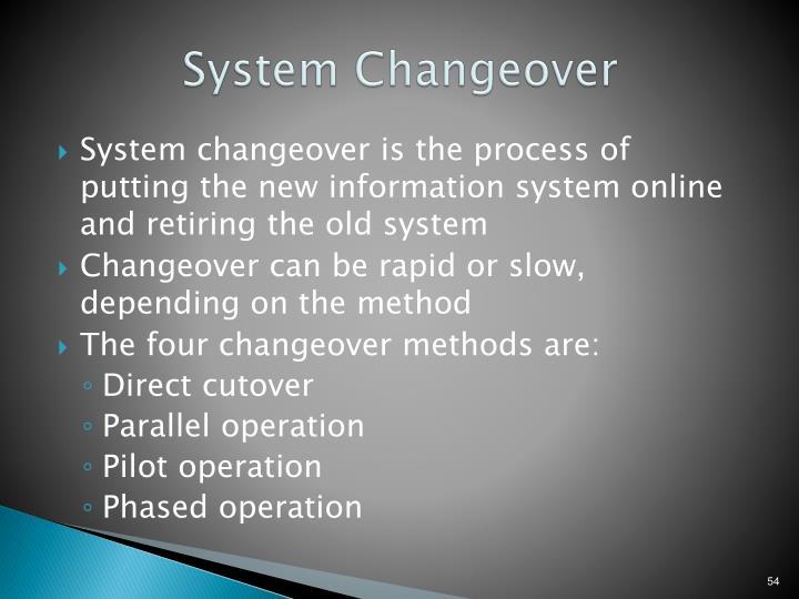 System Changeover