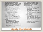 apply the models