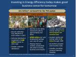 investing in energy efficiency today makes good business sense for tomorrow