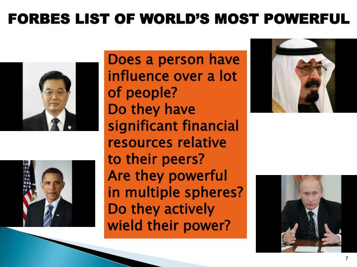 FORBES LIST OF WORLD'S MOST POWERFUL