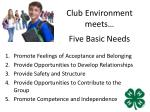 five basic needs