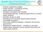 benefits shared services going external to general services