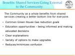 benefits shared services going external to the community