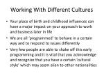 working with different cultures
