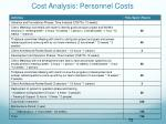 cost analysis personnel costs