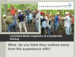 lockheed martin engineers at a leadership training