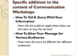 specific additions to the content of communication workshops