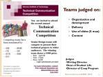teams judged on