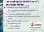 analyzing the feasibility of a business model cont d