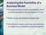 analyzing the feasibility of a business model
