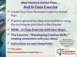 new venture action plan a nd in class exercise